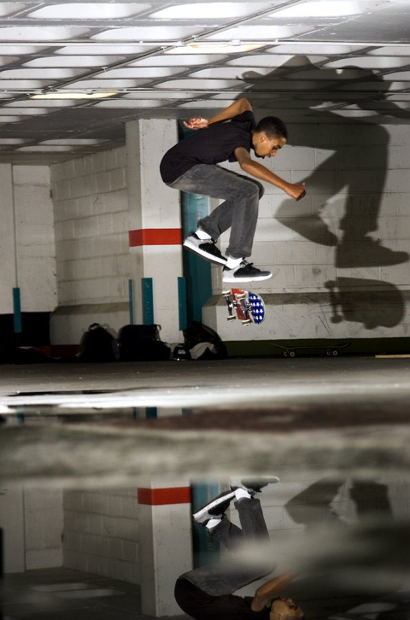 Kickflip, another snap of my mate skating in a local car park.