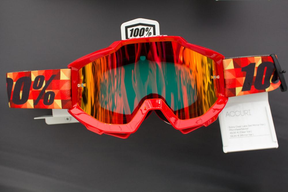 Neue Goggle Accuri von 100%. Erhältlich ab 49,90€ (klares Glas) bzw 59,90€ (verspiegeltes Glas).