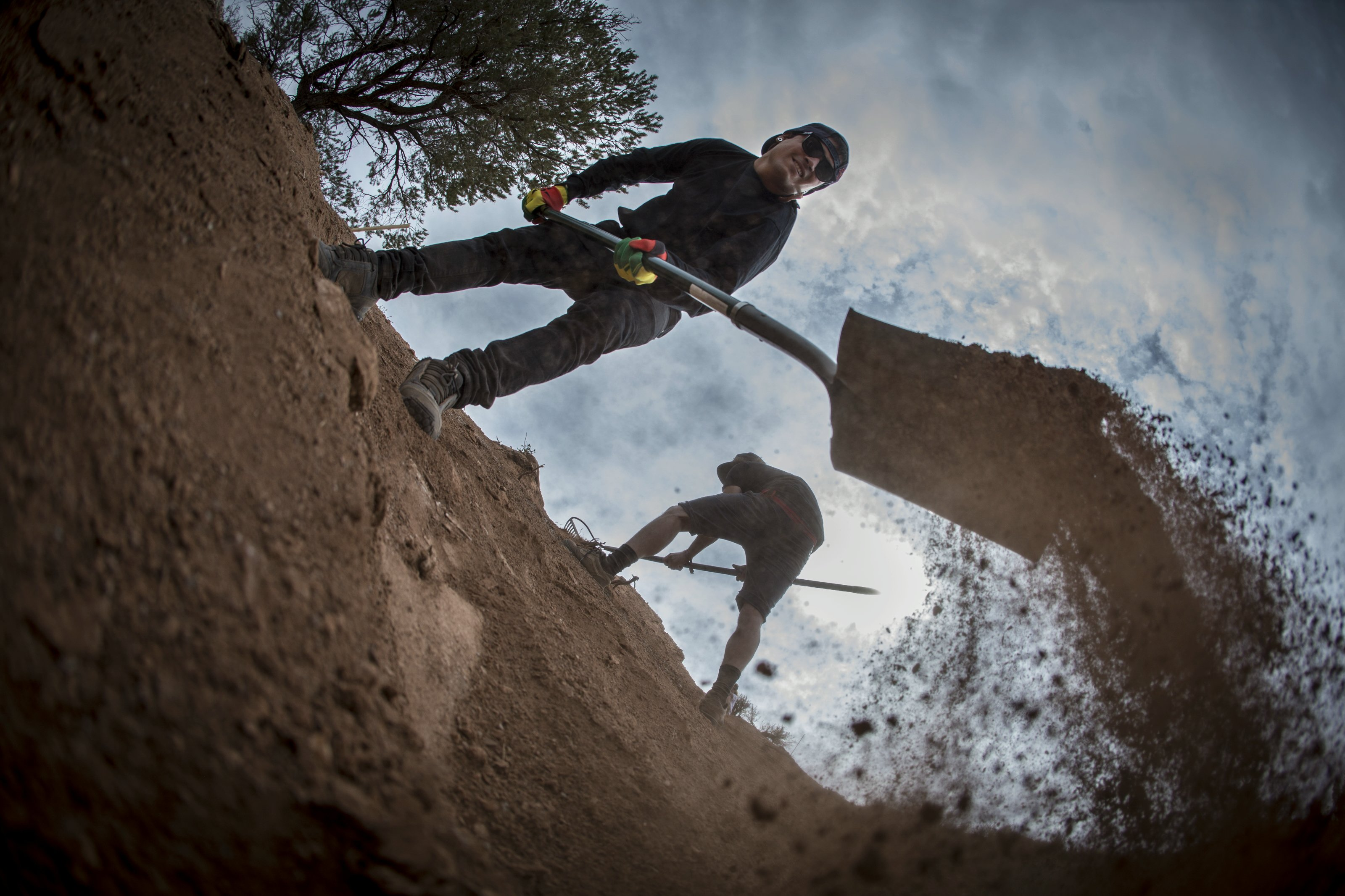 Andreu Lacondeguy prepares the course during Red Bull Rampage in Virgin, Utah, USA, on 9 October 2013. // Christian Pondella/Red Bull Content Pool // P-20131010-00007 // Usage for editorial use only // Please go to www.redbullcontentpool.com for further information. //