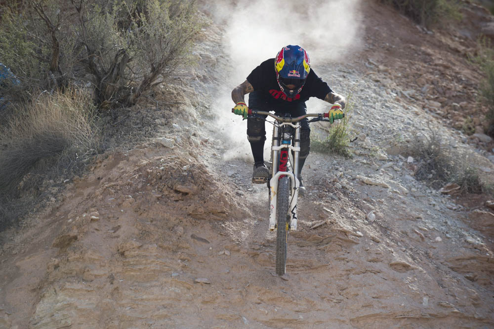 Andreu Lacondeguy rides during finals at Red Bull Rampage, in Virgin, UT, USA, on 13 October, 2013. // Ian Hylands/Red Bull Content Pool // P-20131014-00012 // Usage for editorial use only // Please go to www.redbullcontentpool.com for further information. //