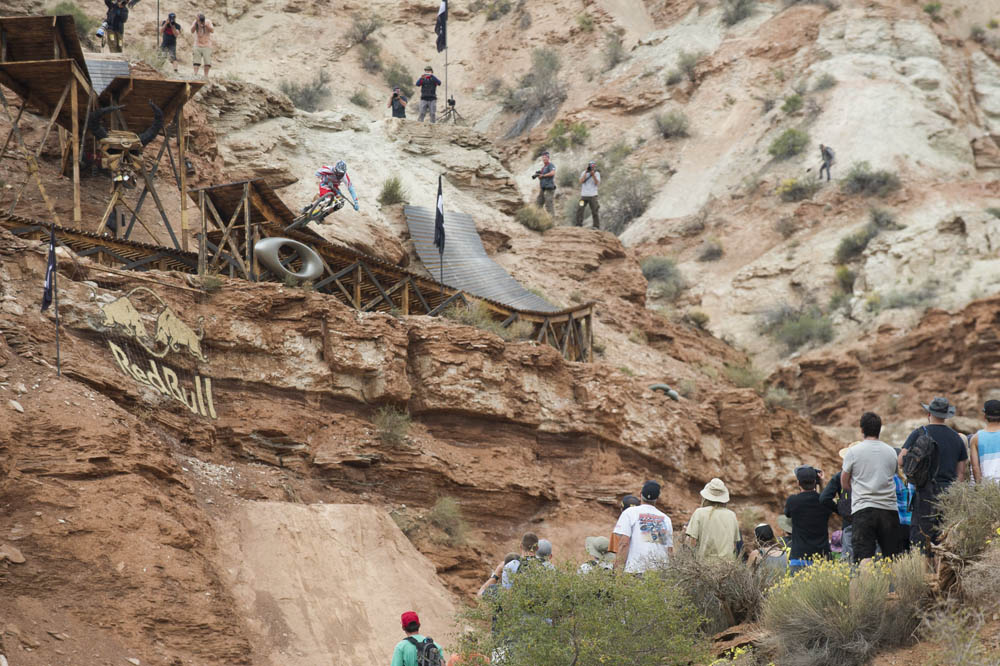 Geoff Gulevich jumps during finals at Red Bull Rampage, in Virgin, UT, USA, on 13 October, 2013. // Ian Hylands/Red Bull Content Pool // P-20131014-00023 // Usage for editorial use only // Please go to www.redbullcontentpool.com for further information. //