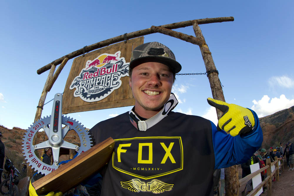 Kyle Strait holds his trophy after winning Red Bull Rampage finals in Virgin, UT, USA on 13 October, 2013. // John Gibson/Red Bull Content Pool // P-20131014-00030 // Usage for editorial use only // Please go to www.redbullcontentpool.com for further information. //