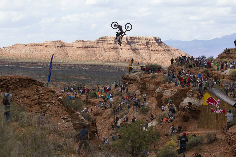 Kelly McGarry rides to a second place finish at Red Bull Rampage in Virgin, UT, USA on 13 October, 2013. // John Gibson/Red Bull Content Pool // P-20131014-00039 // Usage for editorial use only // Please go to www.redbullcontentpool.com for further information. //