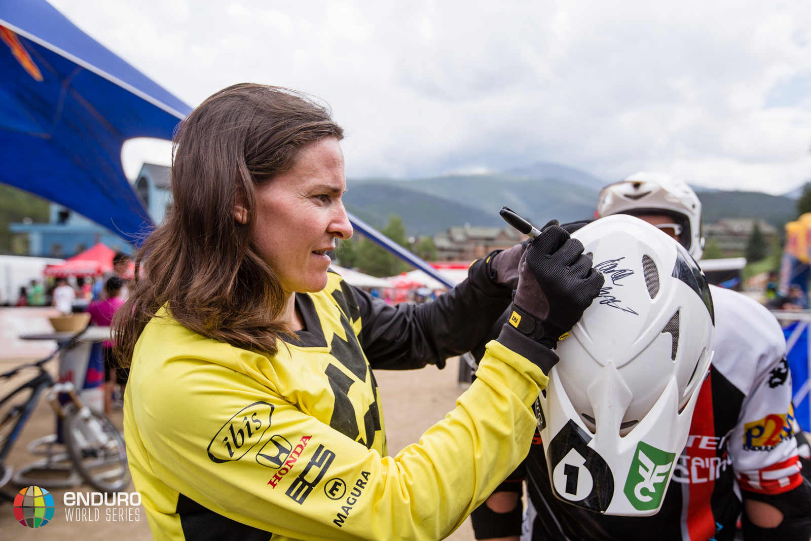 Anne-Caroline Chausson signs an autograph for a fan. EWS 5 2014 Winter Park. Photo by Matt Wragg