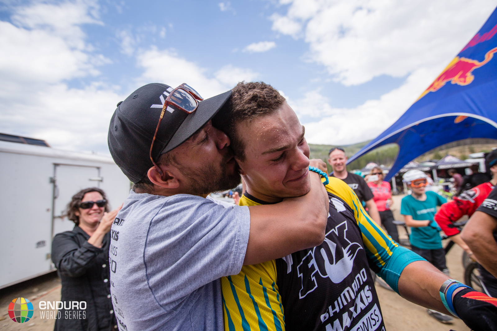 Damien Breach congratulates Richie Rude on his win on stage seven. EWS 5 2014 Winter Park. Photo by Matt Wragg