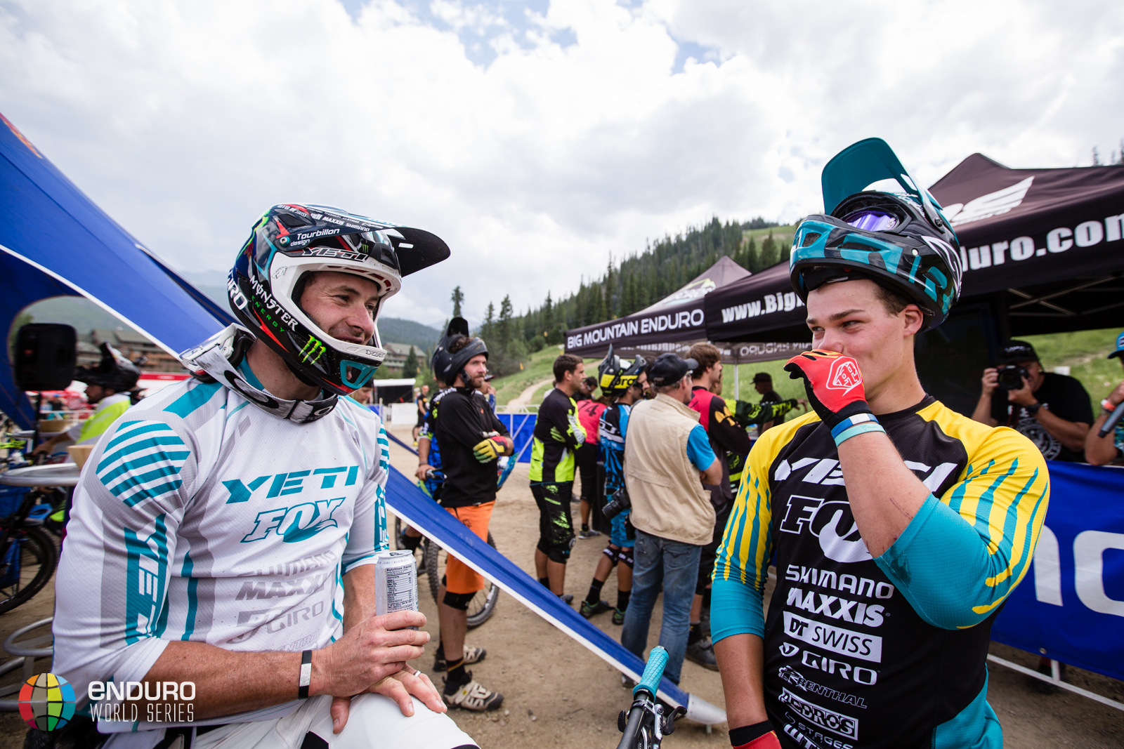 Jared Graves and Richie Rude swap stories from the race. EWS 5 2014 Winter Park. Photo by Matt Wragg