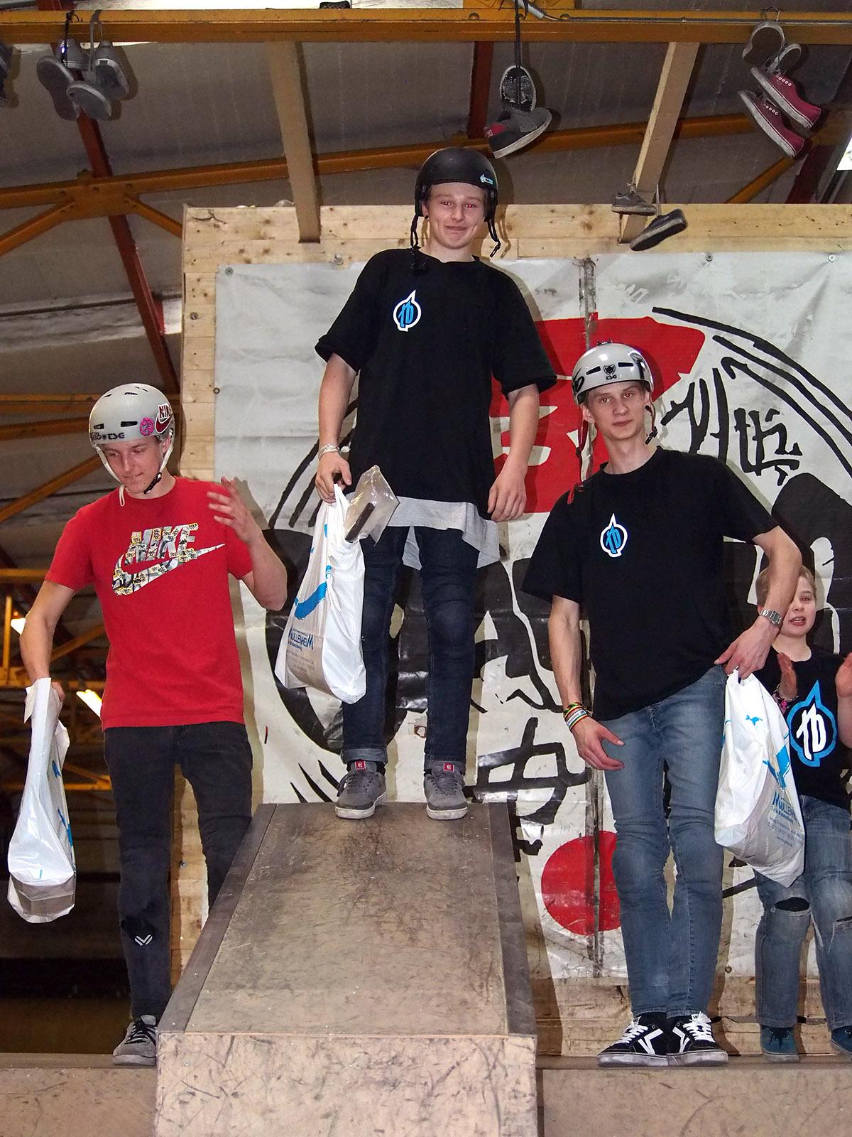 Die Gewinner der Amateurklasse beim 1. Stopp des New Kids Generation Nachwuchscontests in Braunschweig (v.l.n.r.): Max Wagner (3.), Evan Brandes (1.) und Quentin Fiebig (2.)