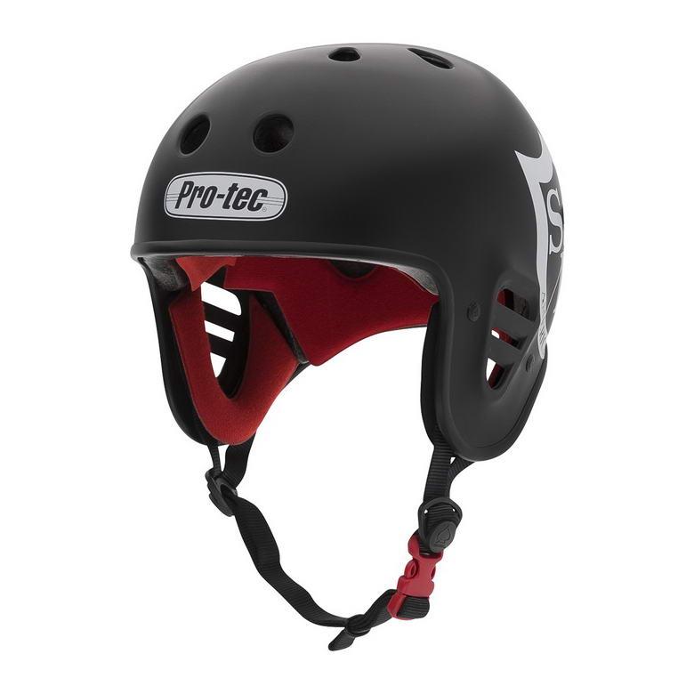 Der Pro-Tec Fullcut Helm in schwarz mit S&M-Logo