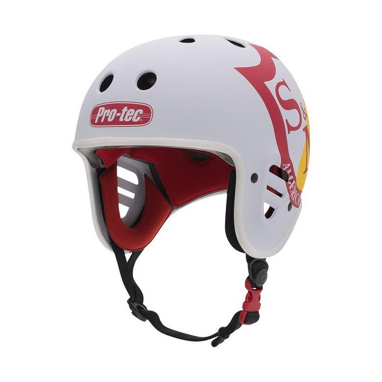 Der Pro-Tec Fullcut Helm in weiß mit S&M-Logo