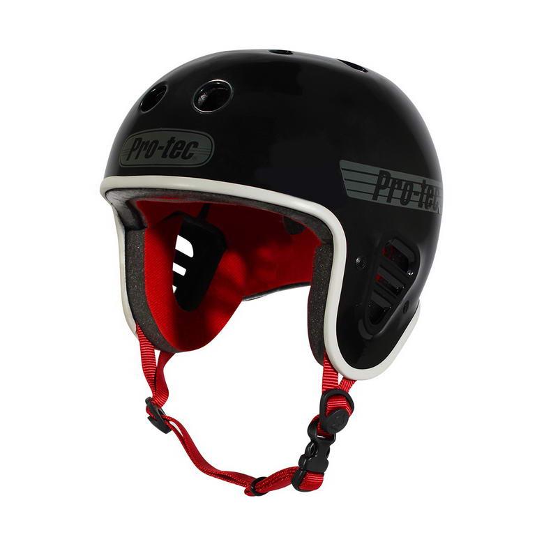 Der Pro-Tec Fullcut Helm in schwarz mit weißem Rand