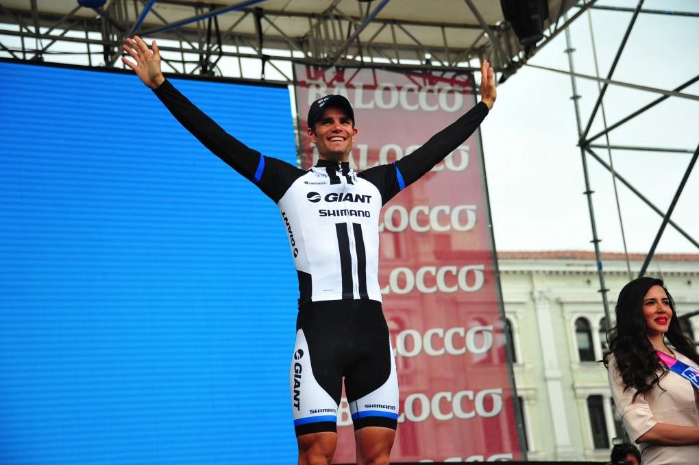 Lucy Garners Teamkollege, Luka Mezgec, der hier gerade den Sieg der 21. Etappe beim diesjährigen Giro d'Italia feiert, ist ein weiteres, unerschöpfliches Sprinter-Talent aus den Reihen des Giant-Shimano-Teams. (Foto: Sirotti)