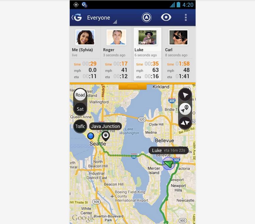 Glympse hält deine Freunde und Familie auf dem Laufenden und verfolgt deine Fahrt in Echtzeit. (Foto: Google Play)