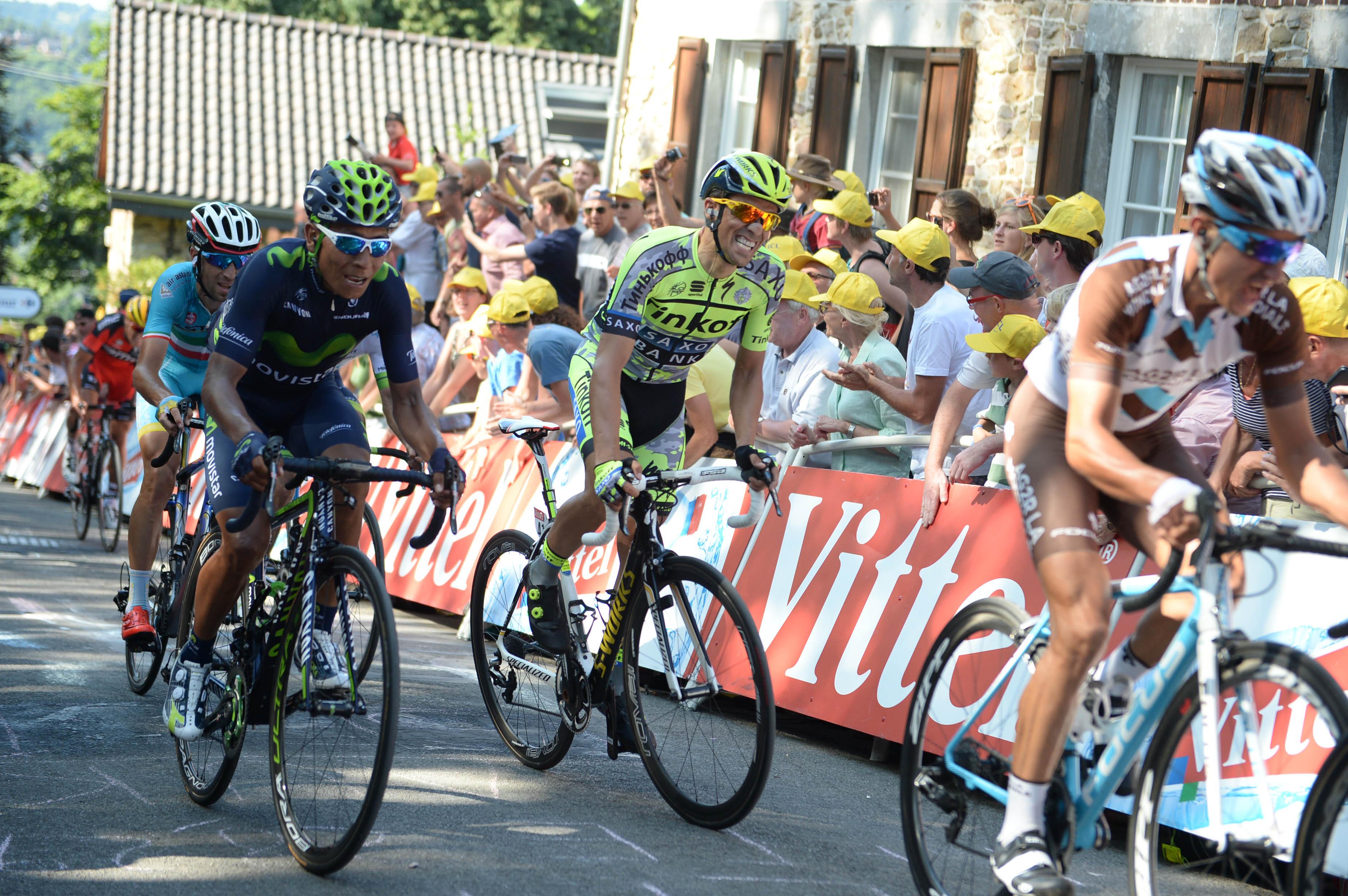 Alberto Contador und Nairo Quintana bei der Tour de France 2015. (pic: Sirotti)