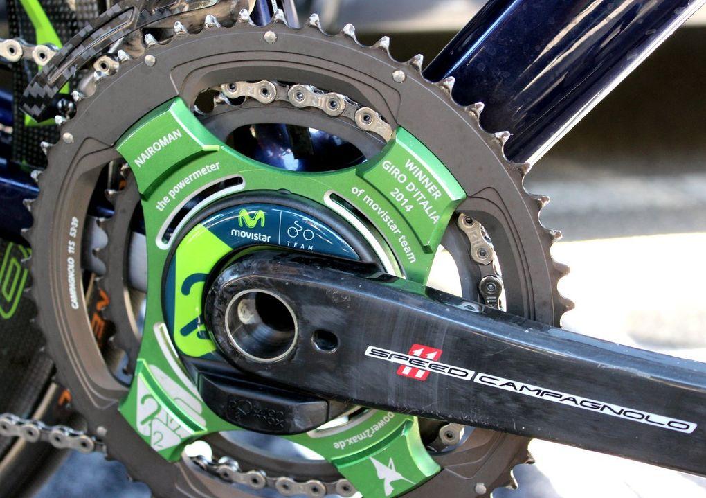 Power2max unterstützt zwei World Tour Teams – Movistar und Etixx-Quickstep. Hier sieht man den Powermeter von Movistar-Kapitän und Zweitem der Tour de France, Nairo Quintana.