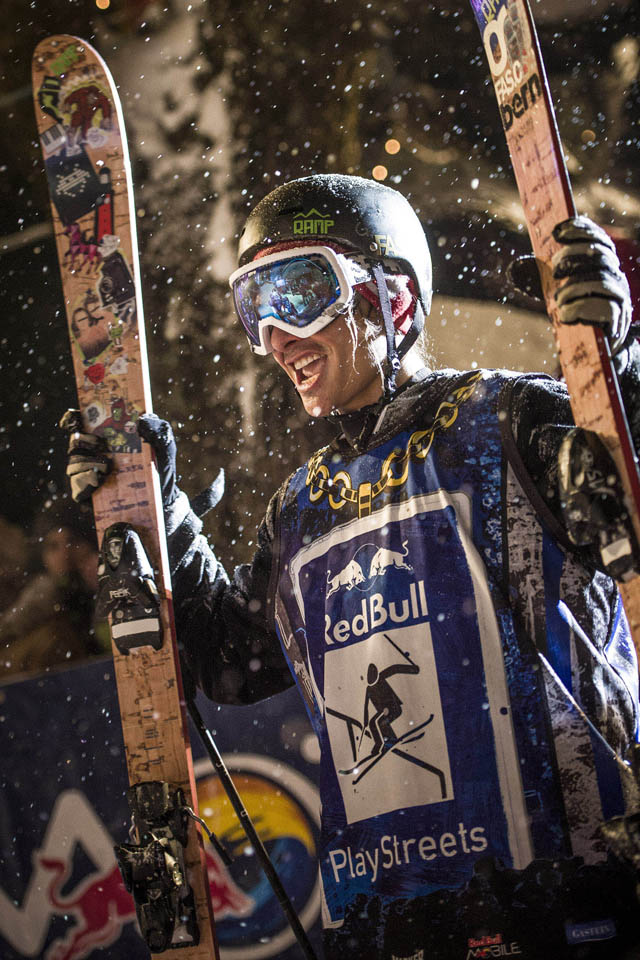 Charles Gagnier celebrates after winning at Red Bull Playstreets 2013 in Bad Gastein, Austria on February 23rd, 2013
