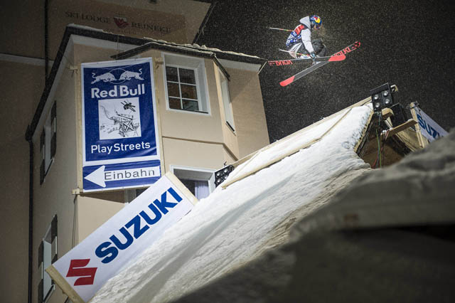 Markus Eder performs Red Bull Playstreets 2013 in Bad Gastein, Austria on February 23rd, 2013
