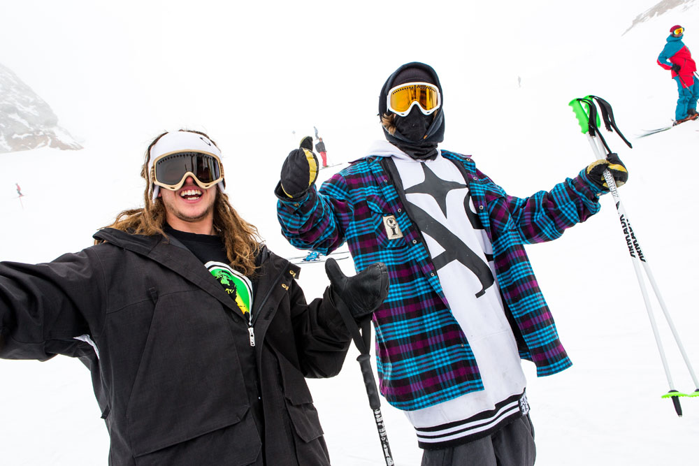 E-Dollo and B-Dog stoked to be in Hintertux to shred and attend their premier at the Tux.