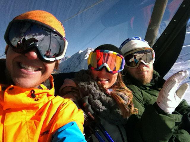 Clemens (MBM-Sales), Dana, (Skiing-Praktikantin) & Anton (Skiing-Grafik)